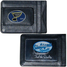 St. Louis Blues Fine Leather Money Clip ID Card Cash Holder Wallet NHL Licensed
