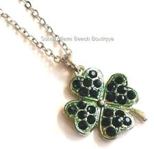 "Silver Irish Green Shamrock Necklace 18"" Crystal Celtic St. Patricks Day Plated"