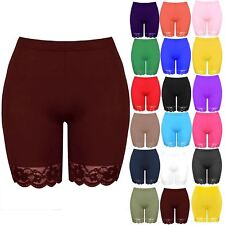 Plus Size Ladies Womens Cycling Shorts Hot Pant Lace Trim Jersey Gym Bike Tights