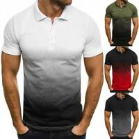 Herren Gradient T Shirt Polohemd Kurzarmshirt Freizeit Bluse Sommer Knopfhemd DE
