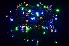 100 LED Lichterkette Farbwechsel warm weiß bunt mit 9 Funktionen grünes Kabel