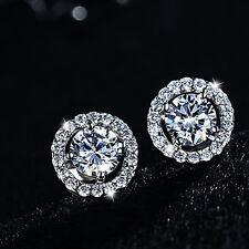 Sterling Fashion Silver Wedding Bride Round Clear Gem Crystal Stud Earrings.