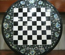 30 Inches Black Marble Coffee Table Top Handmade Game Table with Shiny Gemstones