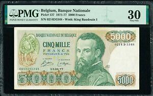 Belgium 5000 Francs 10.06.1977 Pick-137 Very Fine PMG 30