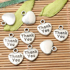 28pcs tibetan silver color heart shaped Thank you lettering charms  EF2615