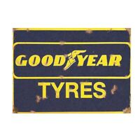 Good Year Tyres Vintage Advertising Sign Metal Garage Shed Workshop Plaque