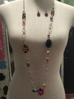 NWT UNIQUE SILVER TONE CHAIN & MATCHING EARRINGS W/ MULTICOLOR BEADS