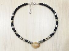 Handmade Men's Necklace With Natural Black Matte Onyx, Dalmation Spot, Citrine