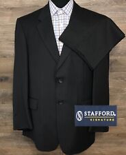 Stafford Signature Men Silk Wool Black Striped 2-Button Business Suit 42S 36X30