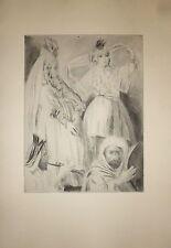 Gravure orientaliste A F monogramme orientalisme vers 1900 femme danse orientale