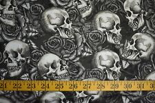 SKULLS  & ROSES ALLOVER ON GRAY  100% COTTON FABRIC BY THE 1/2 YARD