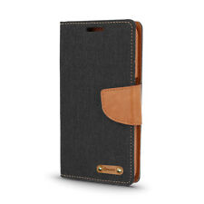 ^ Book Case CANVAS Cover Hülle Handy Tasche Etui für Sony Xperia E5 schwarz-brau