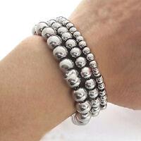"""7-11"""" 6/8/10mm Men/Women's Handmade Silver Gold Beads Stainless steel Bracelet"""