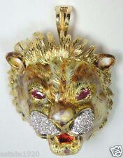 Antique Art Deco Vintage Diamond Lion Brooch Pendant 18K Yellow Gold Ruby Fine