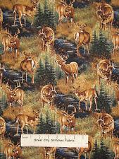 Stoney Brook Deer ~ 100% Cotton Fabric ~ Wilderness Deer Doe Scenic 2 Piece Lot