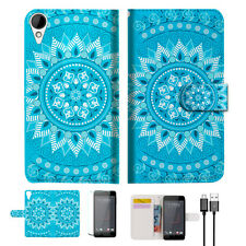 BLUE AZTEC TRIBAL Phone Wallet TPU Case Cover For HTC Desire 825 -- A001