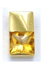18K 750 Yellow Solid Gold Tank Square Topaz Citrine pendant NEW Japan