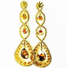 USA EARRING fashion Swarovski ELM Crystal Yellow Long Dangle Gold Plated Journey