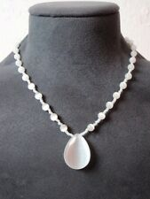 Stunning Moonstone Pear Pendant Bead Necklace White Strand White Spacers Vintage