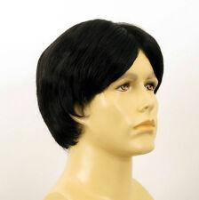 Perruque homme 100% cheveux naturel noir ref DAVID 1b