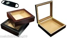 20 ct CIGAR deep cherry GLASS-TOP HUMIDOR Cutter Dads & Grads FREE PRIORITY SHIP