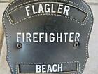 VTG.ORIGINAL LEATHER FLAGLER BEACH FIREFIGHTER HELMET BADGE,RARE BRASS EAGLE TOP