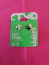 Claire's St. Patrick's Day Green & White Glitter Heart Shaped Earrings New! �