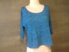 Womens Mudd High Low 3/4 Sleeve BATWING CUT Blue /BLACK LINES Casual Shirt Sz XS