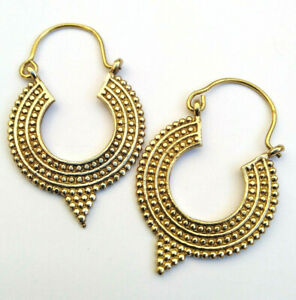 Hoop drop earrings Festival gold colour hippy Indian boho gothic ethnic brass