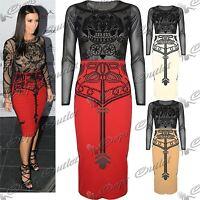 Womens Ladies Celebrity Kim Kardashian Skull Mesh Long Sleeves Midi Skirt Dress