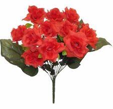 12 Red Open Roses Long Stem Silk Wedding Flowers Bridal Bouquet Centerpieces