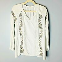 Charming Charlie Women's Top Size Medium Floral Embroidered White Gray Yellow