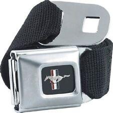 Seatbelt Men Canvas Web Military Ford Mustang Black Silver Logo