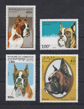 Dog Art Head Study Portrait Stamp Collection BOXER 4 Different Cropped Ears MNH