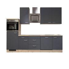 Küchenzeile Küchenblock Einbauküche Elektro-Geräte 280 cm grau matt beige
