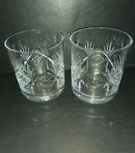 2 VINTAGE HEAVY CRYSTAL CUT WHISKY TUMBLERS GLASSES GOOD QUALITY