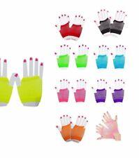 Fishnet Fingerless Gloves Short Panja Small Diamond Net 80's Fancy Party Gloves