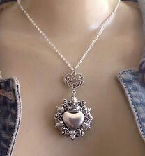 Sacred Heart Necklace Large Art Nouveau Revival Locket Pendant