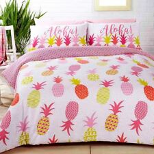 TROPICAL ANANAS Set Housse de couette simple réversible rose literie