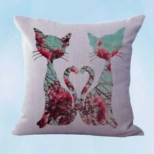 US Seller- shabby chic retro love cats couple cushion cover pillow covers