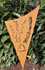 Gartenstecker Gartenschild Willkommen Beetstecker Edelrost Rost Optik Gartendeko