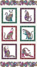 "Cat Fabric Panel Royal Cat-i-tude 9.75"" Quilt Squares 3.5"" Paisley Trim Benartex"