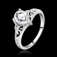 New 925 Sterling Silver Filled Inlay Crystal Filigree Engagement Wedding Ring