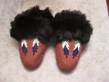 1950s Vintage Native American Infant Konkiaronks de Luxe Slippers Original Box
