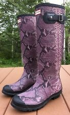 Hunter Carnaby Snakeskin Print Tall Rain Welly Wellingtons Boots Size 8 Purple