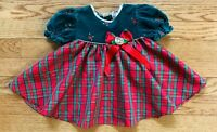 Vintage BABY TOGS Infant Girl Dress Sz 3-6 Mo. Green Velvet Red Plaid Gold Trim