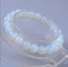 Natural 8mm Opal Moonstone Round Gemstone Beads Stretchable Bracelet 7.5""