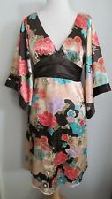 Arden B NEW $138 Dress S Satin Kimono Sleeve Asian Floral Print Brown Peach Pink