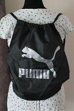 Puma Drawstring Backpack Zipper Pocket Black w/ Silver Logo