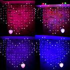 2m x 1.5m M LED a forma di cuore TENDINE LUCI NATALE MATRIMONIO FATA FILO RETE